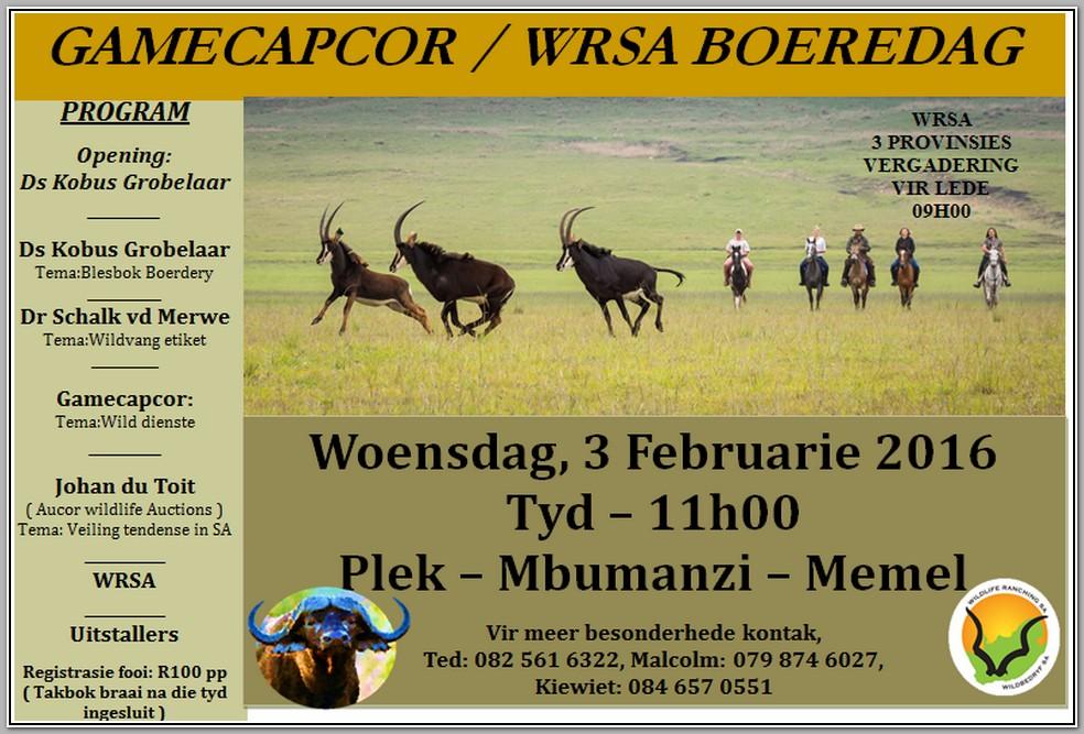 Gamecapcor WRSA Boeredag 3 Februarie 2016 Mbumanzi-Memel